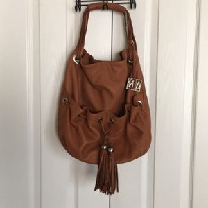 VN leather saddle brown hobo bag